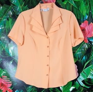 Vintage 90s Kathy Che Blouse Tiered collar